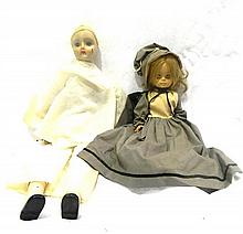 Period Doll in Grey Mog Cap with Handbag Together with a Sad Columbine Doll