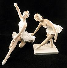 Two Royal Dux figures of ballerinas, one AF