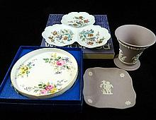 A Wedgwood 'Kutani Crane' dish and a Royal Doulton 'Arcadia' tray and Wedgwood Jasperware lilac vase and pin tray