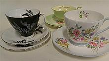 Shelley, Royal Albert and Paragon cups and saucers
