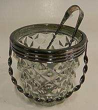 A WMF silver plate mounted glass ice bucket and tongs
