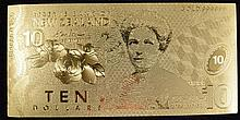 A New Zealand gold foil $10 note