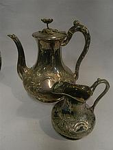 An Elkington & Co Coffee Pot and Creamer