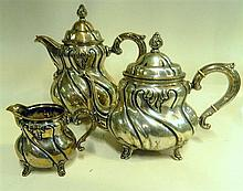German ( 830) silver coffee set . Coffee pot 25cm.