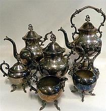 A 6 Piece silver on copper plated coffee set. Coffee pot 28cm.