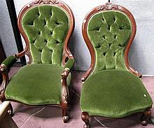 A pair of Victorian stule grandmother & grandfather chairs