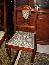 An Edwardian sidechair with tapestry upholstery