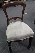 Set of four Victorian oak dining chairs