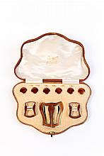 An Art Nouveau Sterling Silver & Enamel set of Buckles and Buttons by Lawrence Emanuel