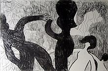 Charles Blackman (b.1928) Figures Dancing 1997 Charcoal on paper on canvas