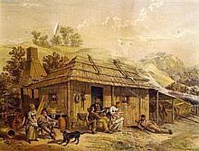 Australian School (19th Century) The Squatter's Homestead Handcoloured lithograph