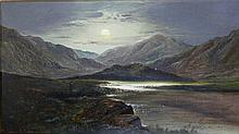 Charles Leslie (1835-1890) Figure by the Loch, Moonlight + Figure by the Loch by Day 1884 (2) Each oil on canvas