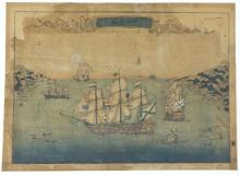 Japanese School (Poss. Early 19th Century) Entry of Four Ships to Nagasaki Woodblock print