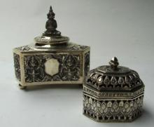 Two South East Asian Silver Lidded Boxes,