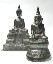 Two Cambodian Silver Buddha Images, late 19th/early 20th century,