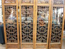 Four Chinese Elm Window Screens, 19th/20th century,
