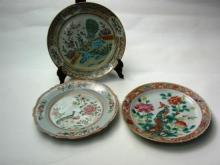 Three Straits Chinese Porcelain Nonya Ware Plates, 19th/20th century
