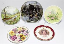 Five cased cabinet plates: