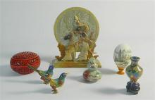 A souvenir collection from Asia including a pair cloisonne birds
