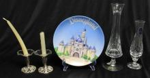 A Royal Doulton crystal vase, Sevres crystal vase, decorative Disneyland plate and two silver-plate candlesticks with glass collars (5)