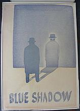 Jean-Michel Folon (1934-2005) Belgian Blue Shadow 1980 Poster, offset print