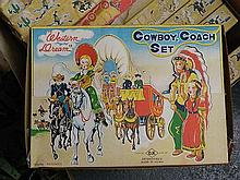 A box of new old toys of ten Western Dream cowboy coach sets, Japan, c1950's