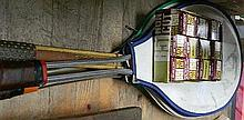 Three old tennis rackets and eleven old Slazenger golf balls (unused)
