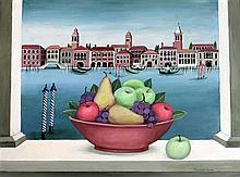 Frances Jones (1923-1999) The Grand Canal Venice (with Still Life) Oil on board