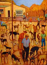 Robert (Bob) Marchant (b.1938) The Dog Cafe 2008 Oil on board