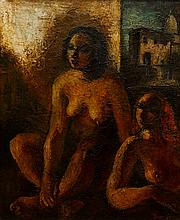 Alice Danciger (1914-1991) Two Nudes Oil on canvas on board