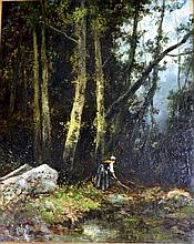 Ignacio Manzoni (1799-1888) Italian The Girl Collecting Twigs in the Forest Oil on canvas