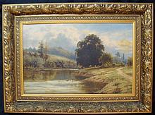 William Henry Mander (1850-1922) On the Severn Oil on canvas