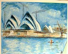 Lloyd Frederic Rees (1845-1988) Utzons Vision - Sydney Opera House 1983 Lithograph ed. A/P