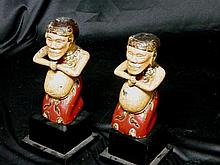 A Pair of Vietnamese Temple Guards, late 19th/early 20th Century,