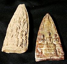 Two Thai Clay Amulets, c.20th Century,