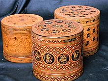 Three Burmese Lacquer Betel Nut Boxes, c.1920s,