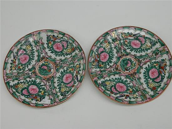 A Pair of Chinese Famille Rose Dishes. 20th century.
