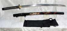 Japanese replica Warriors Sword, Curved Hand Forged Steel Blade With Blood Grooved To Back, Embossed Tsuba, Gold Guilded Detail Imit...