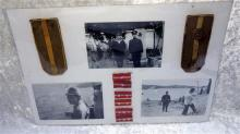 Lot Of Various Japanese Mounted Items Including 3 Black & White Photographs Of Japanese Solders 3 Sets Of Soldiers Collars Tabs, One...