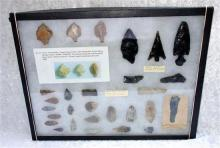Large Cased Collection Of Paleolithic Spear And Arrow Heads, These Have Been Found In A Variety Of Areas, Including There Are 4 Blac...