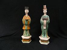 Two Ming dynasty sancai glaze figures