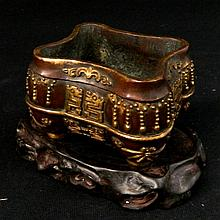 A Chinese bronze brushpot