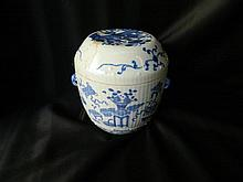 A Chinese blue and white lidded porcelain jar