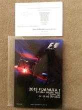 2013 Korean GP programme signed in person by 7 drivers, including Webber, Alonso, Massa, Button, Hamilton.