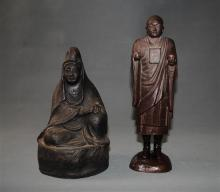 Two Japanese Pottery Ware Buddhist Figures, [2],