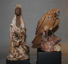 A Japanese Ceramic Kannon Figure; together with a Ceramic Figure of a Hawk, [2],