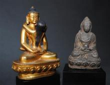 A Gilt Bronze Tibetan Deity Samvara with consort; together with an early Tibetan Clay Votive Figure of Buddha, 17/18th Century, [2],