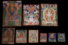 Nine finely painted Mongolian Miniature Thangka Paintings, [9],