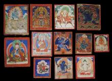 Twelve fine Mongolian Miniature Thangka Paintings on Cloth, 19th Century, [12],