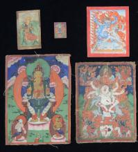 Seven finely painted Mongolian Miniature Thangka Paintings, [7],